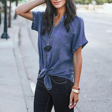 Short Sleeve Plain Denim Tops Blouse T-shirt