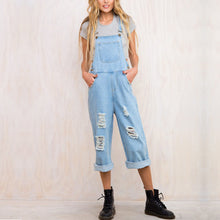 Fashion Plain Denim Wide Leg Jumpsuits