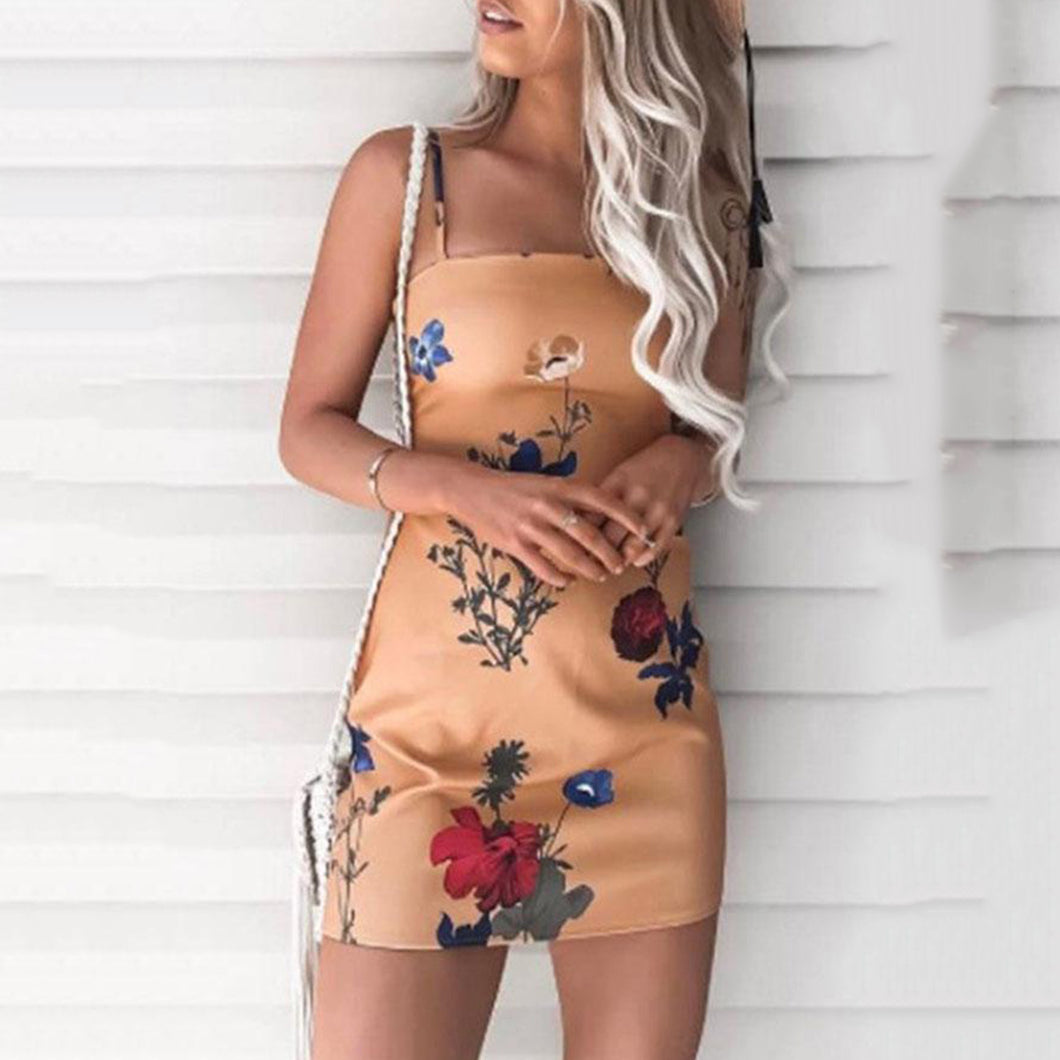 Spaghetti Strap  Bowknot  Back Hole  Floral Printed Bodycon Dresses