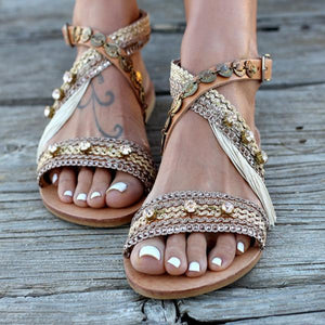 Europe And America Beaded Tassels Ankle Cross Buckle Sandals