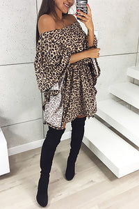 Sexy Off Shoulder Bell Sleeve Leopard Print Casual Dress