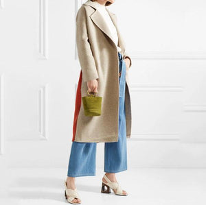 Fashion Lapel Plain Color Blocking Woolen Long Coat