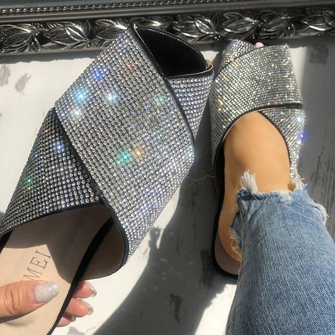 Patent Leather Rhinestone Open Toe Sandals