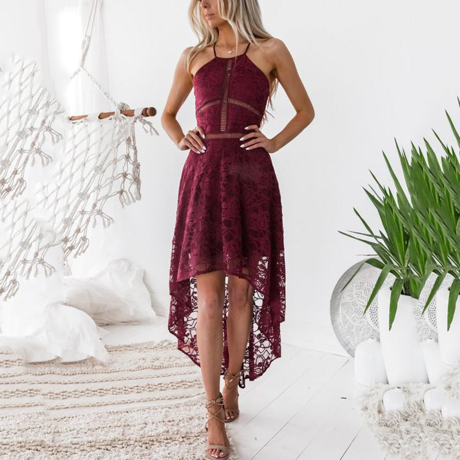 Sexy Halter Neck Lace Sleeveless Maxi Dresses