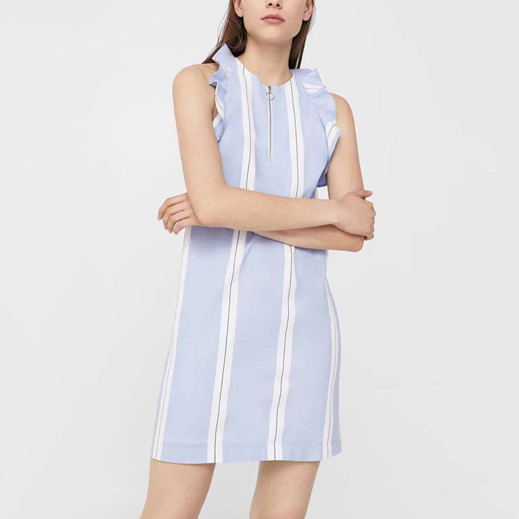 Light Blue Stripe Elegant Sleeveless Mini Dress