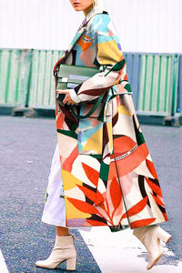Chic Lapel Colorful  Leaves Printed Loose Woolen Long Coat