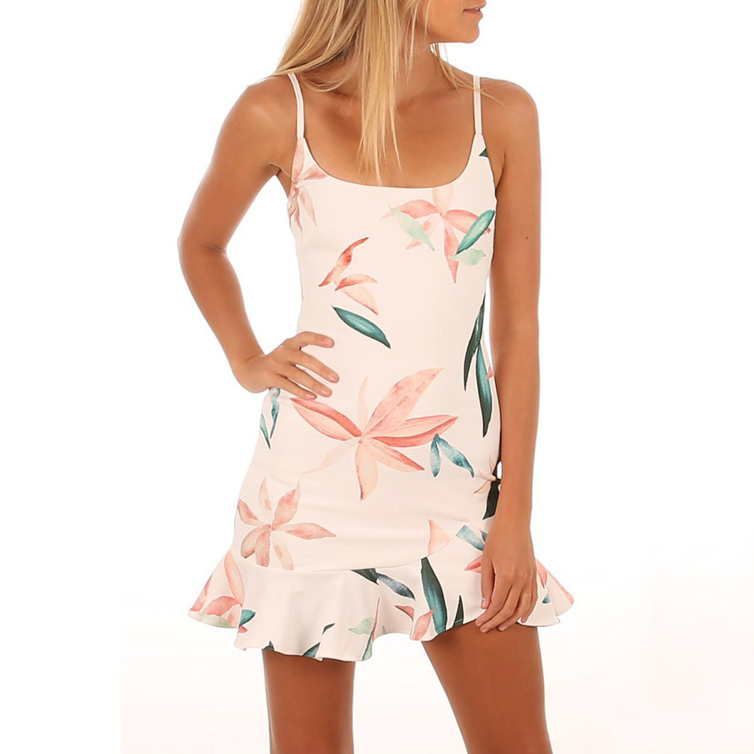 Sexy Sleeveless Floral Print Vacation Mini Dress