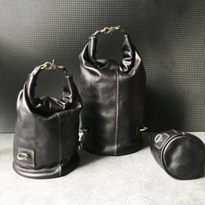 CAROL - Genuine Leather Roll Top Bucket Bag Large