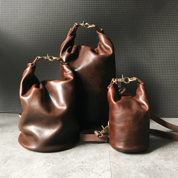 Carol Genuine Leather Roll Top Bucket Bag Mini