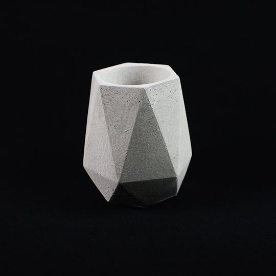 Grey Geometric Planter Tall