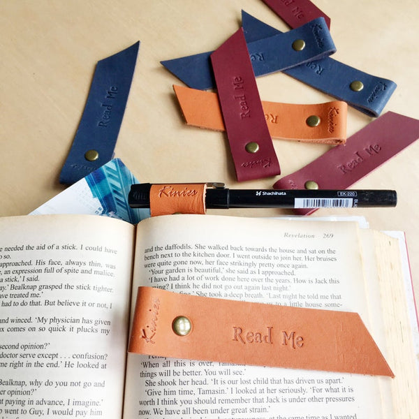Leather Bookmark with Pen Holder
