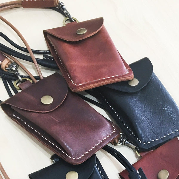 KINIES HANDMADE: Genuine Leather Card Holder Pouch With Lanyard