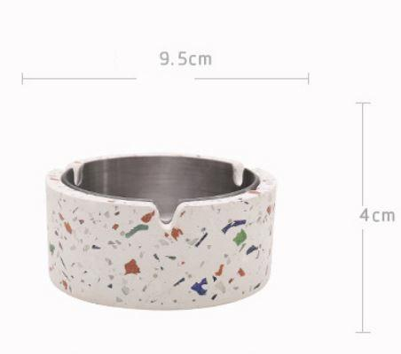 Caylin Terrazzo Ashtray With Cover and Stainless steel Inner Tray