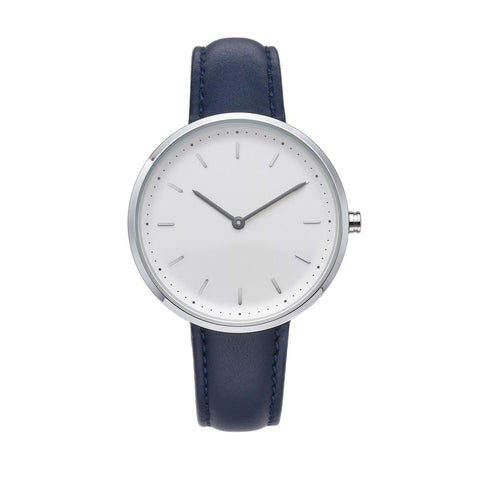 PLAIN SUPPLIES Watch: Conc 39 Navy Leather