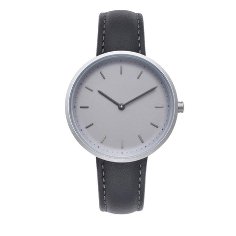PLAIN SUPPLIES Watch: Conc 39 Grey Leather