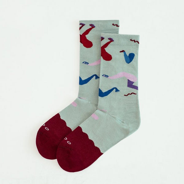 GOODPAIR SOCKS: Fancy Footwork / Biking Red