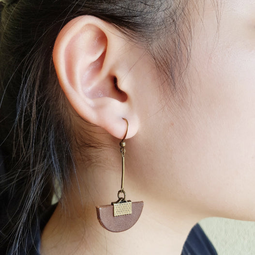 Mano Plus Kinies Leather Half Circle Drop Earrings
