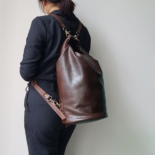 Carol Genuine Leather Roll Top Bucket Bag Large