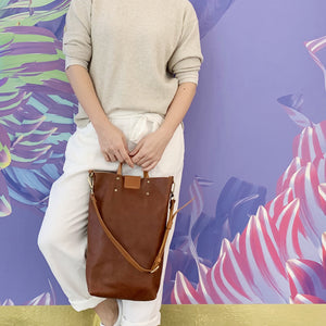 Leather Tall Tote & Sling Bag