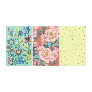 PAPERGEEK Floral Notebook - Set of Three : Blue, Red, Yellow