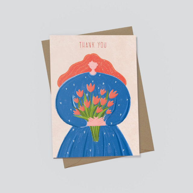 EJ MEMENTO Greeting Cards: Big Girl with a Bouquet of Flowers