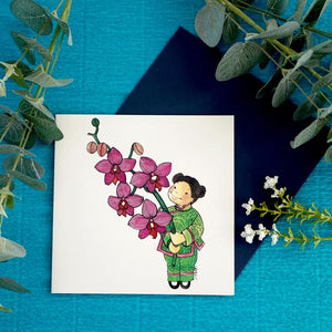 PAGODA KINGDOM Postcard: Flower Girls Orchid  - Love, Beauty, Good Fortune & Wealth