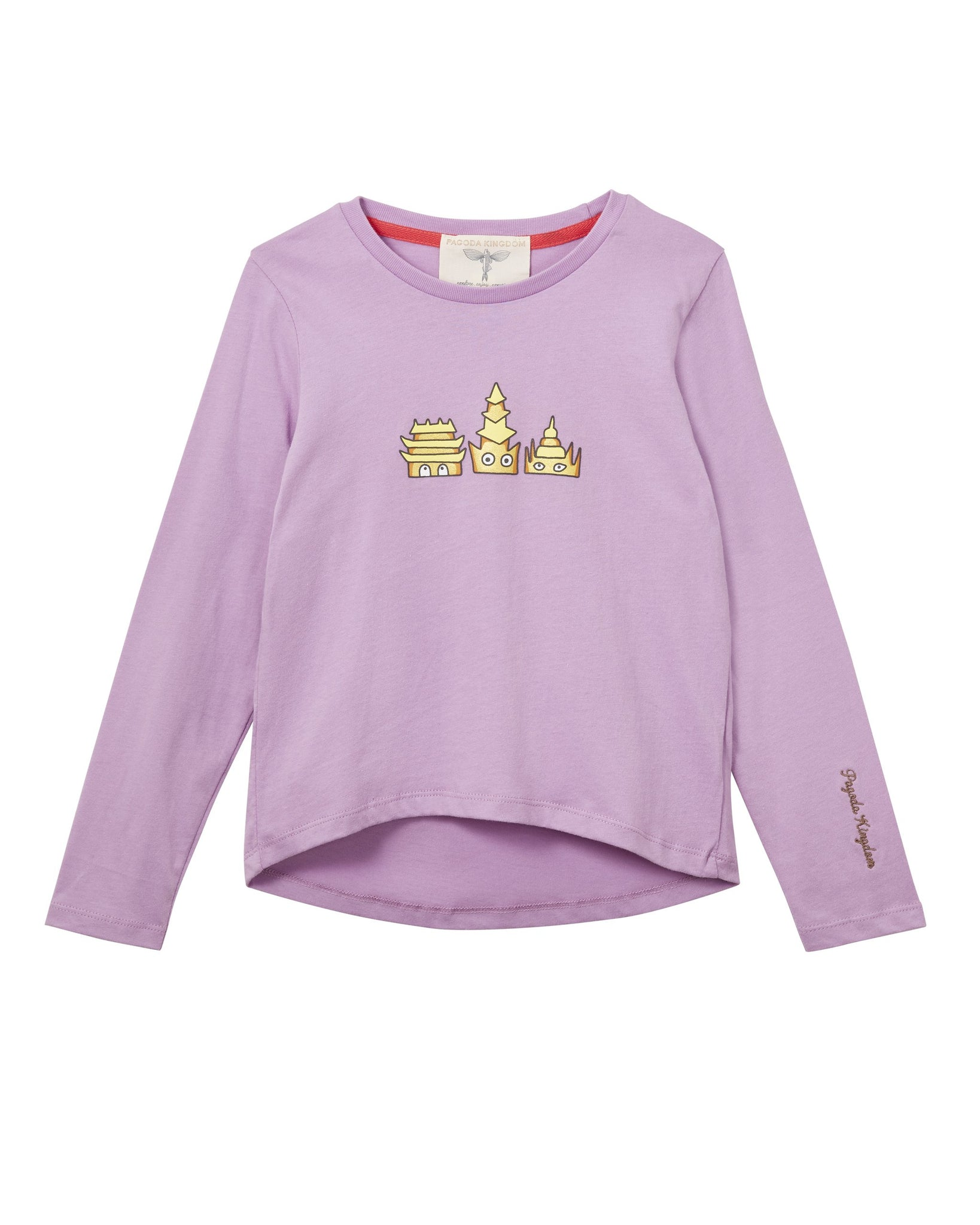MANO PLUS | Pagoda Kingdom | Golden Pagodas Printed T-Shirt Magenta