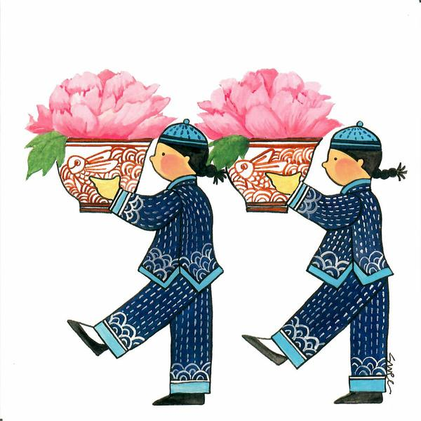 PAGODA KINGDOM Postcard: March of the Tea Cups Peony - Riches & Honour