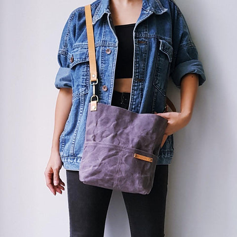 KINIES HANDMADE Waxed Canvas Shoulder Bag: Large