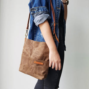KINIES HANDMADE Waxed Canvas Sling Bag: Small
