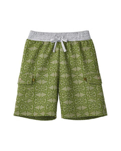 MANO PLUS | Pagoda Kingdom | Tribal Long Shorts - Green