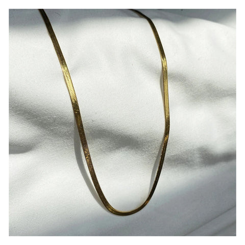 GUNG JEWELLERY Necklace: Herringbone Flat Gold