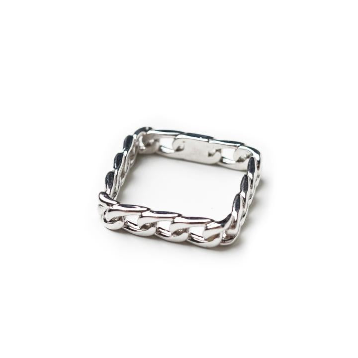 Mano Plus I Twine Square Silver Ring