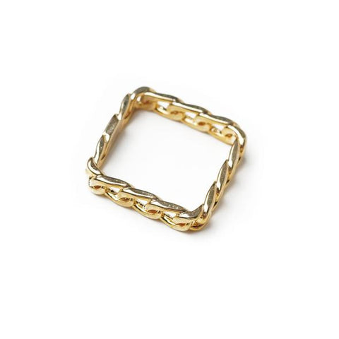 Mano Plus I Twine Square Gold Ring