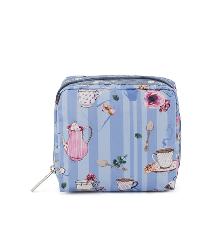 Medium Square Cosmetic Pouch - Tea For Two