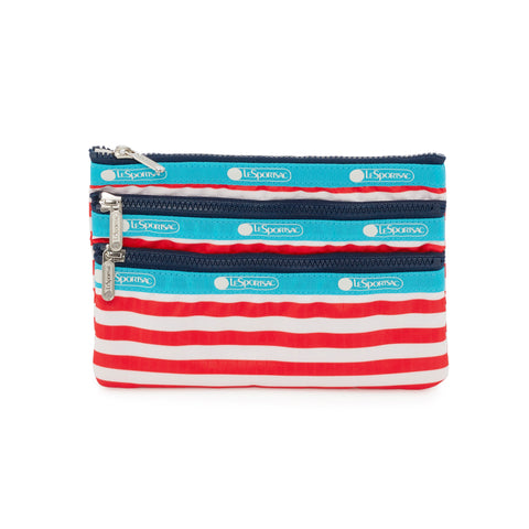 3-Zip Cosmetic Pouch - Shorey Stripe Red | LeSportsac