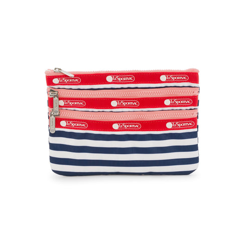 3-Zip Cosmetic Pouch - Shorey Stripe Navy | LeSportsac
