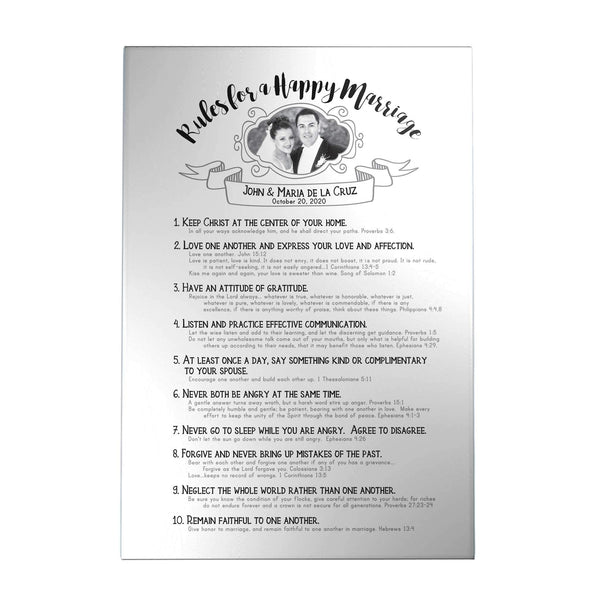 Rules for a Happy Marriage Personalized Decoposter with Picture