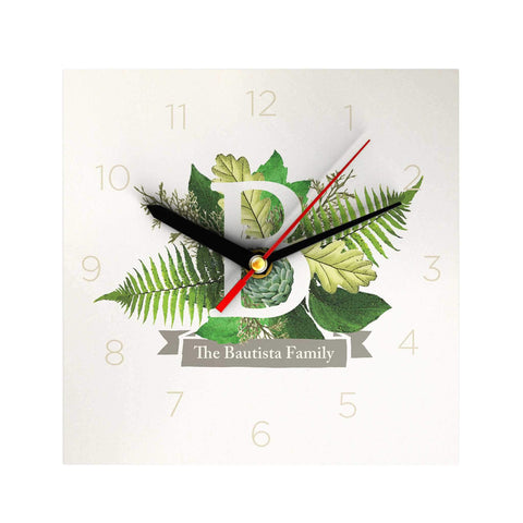 Botanical Monogram Personalized Clock