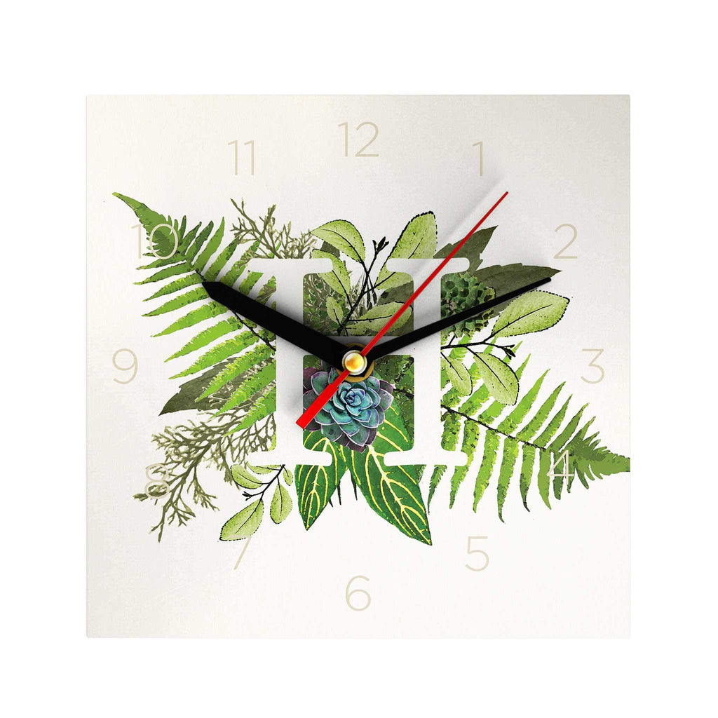 Botanical Monogram Clock: H