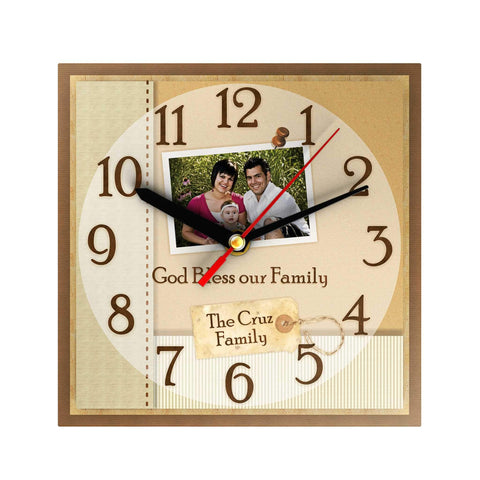 God Bless Our Family Personalized Clock