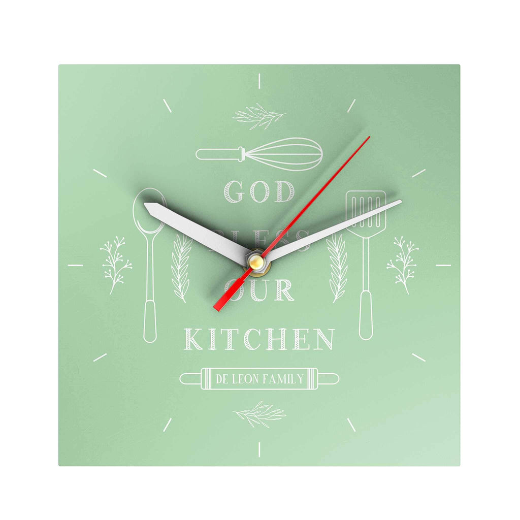 God Bless Our Kitchen Personalized Clock