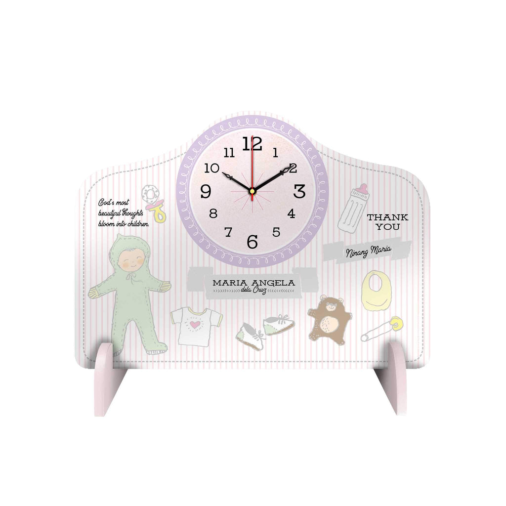 Baby Stripes Personalized Desk Clock