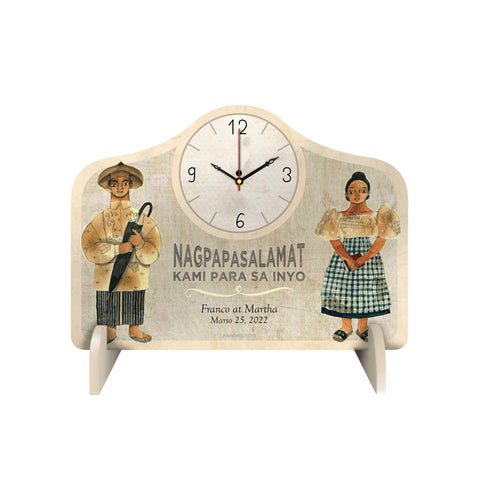 Filipiniana Couple Personalized Desk Clock