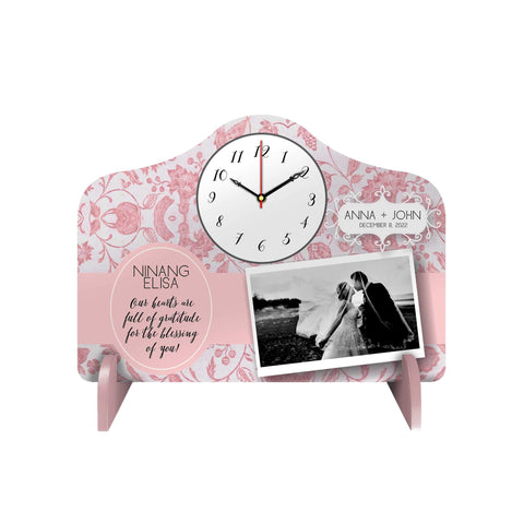 Pink Floral Personalized Desk Clock