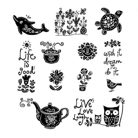 Life is Good Rubber Stamp Set