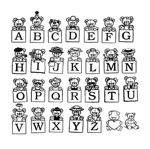 Bear Alphabet Rubber Stamp Set