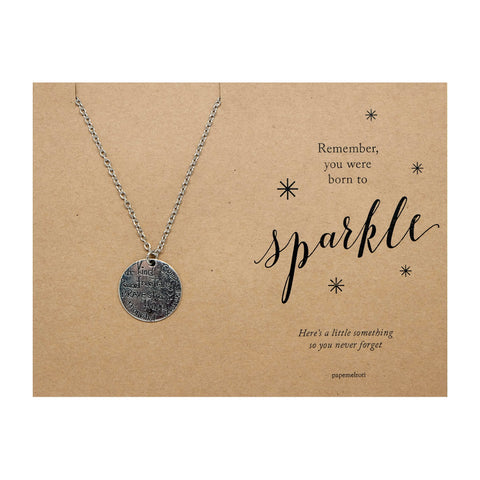 Kind Brave Happy Medallion Necklace Jewelry Gift Card
