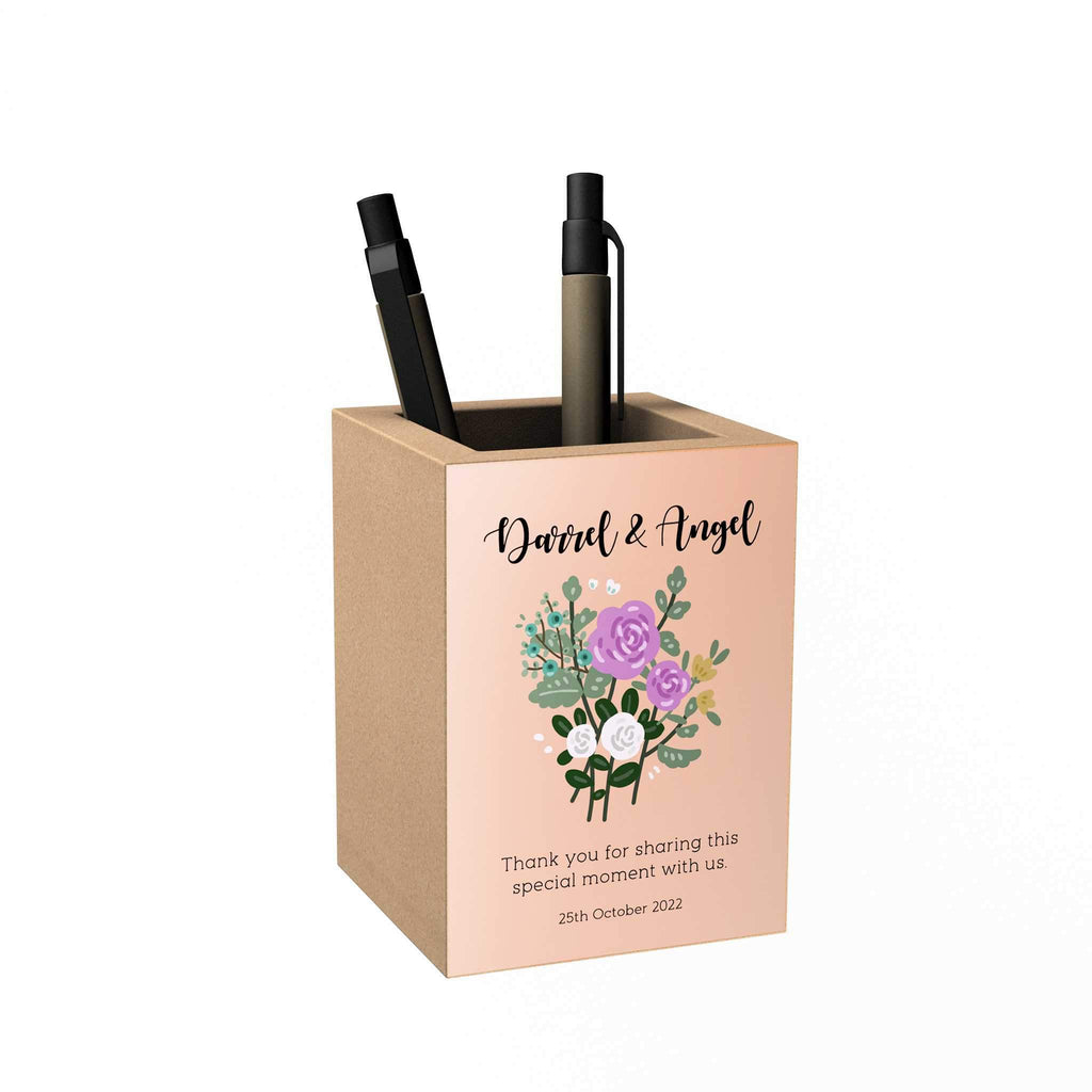 Floral Personalized Penholder: Thank You for Sharing This Special Moment