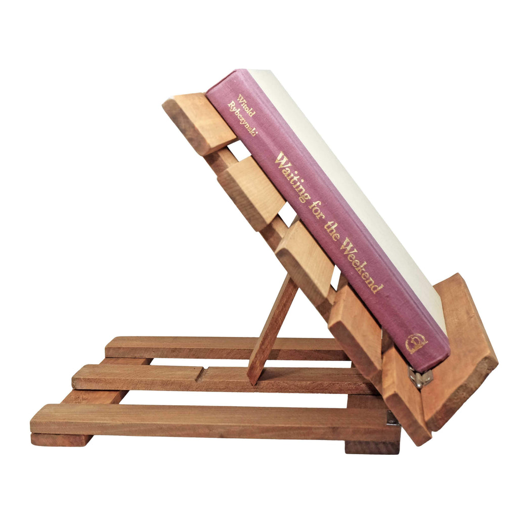 Heavy Duty Foldable Book Stand: Stained Wood